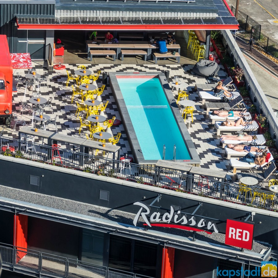 "Radisson Red Hotel at the V&A Waterfront seen from the top floor of the ""Silo Hotel"""