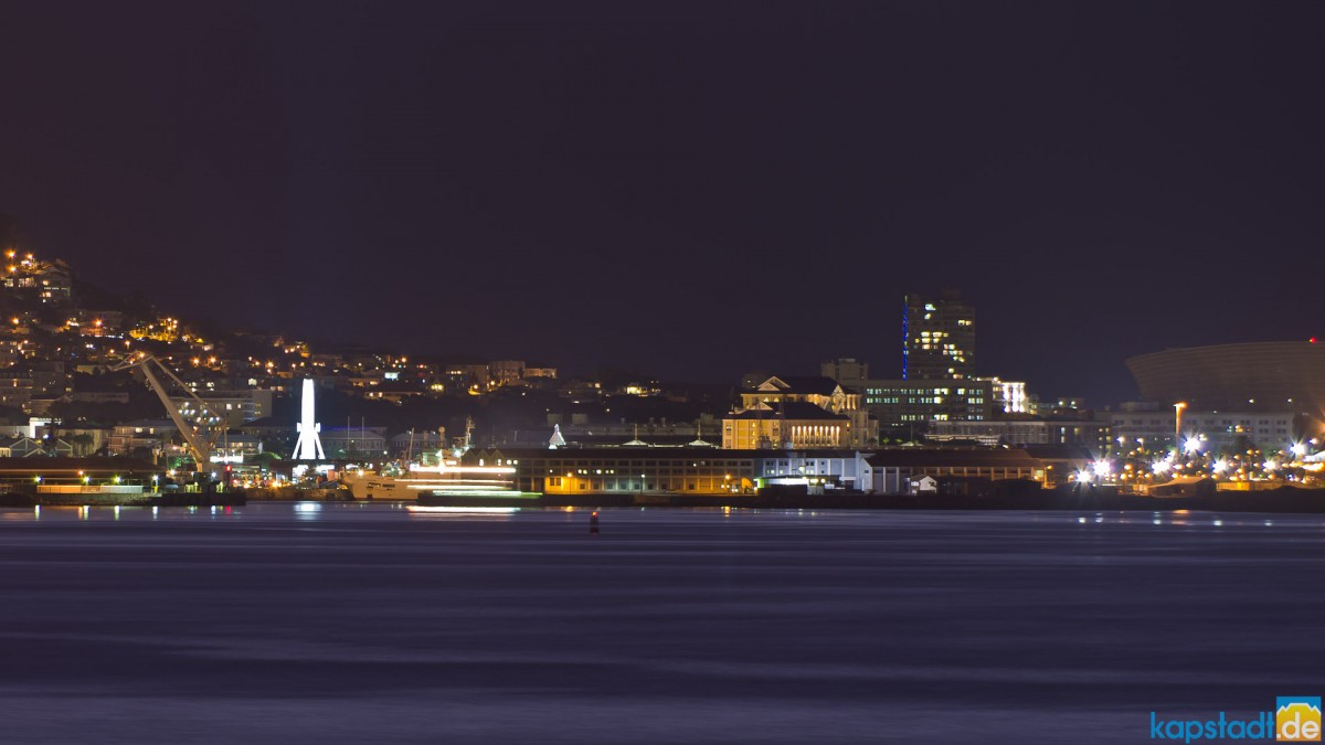 V & A Waterfront seen from Milnerton at night
