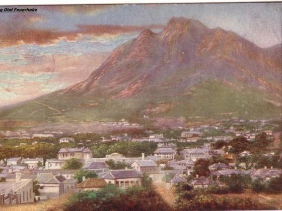 Postkarte Cape Town and Devils Peak gelaufen 1904 nach England