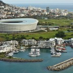 Helicopter flight: 2010 soccer stadium and the yacht harbour