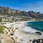 Camps Bay beach with the Tweleve Apostels from the drone