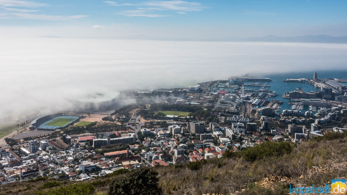View from Signal Hill towards the V&A Waterfront and Sea Point with a mistbank