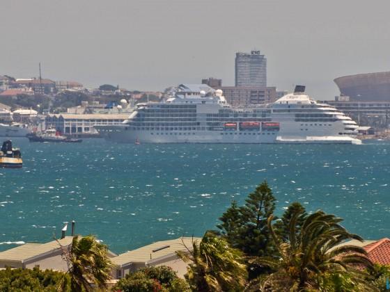Luxury liner entering Cape Town harbour