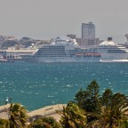 Luxury liner entering Cape Town harbour