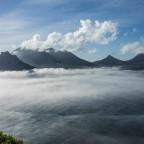 Hout Bay from the outlook at Chapman's Peak Drive with mist