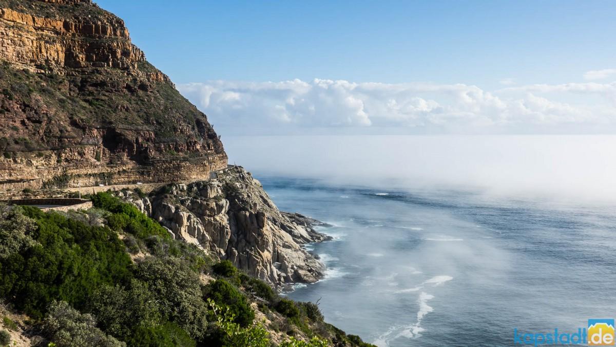 Chapman's Peak Drive with mist on the Atlantic