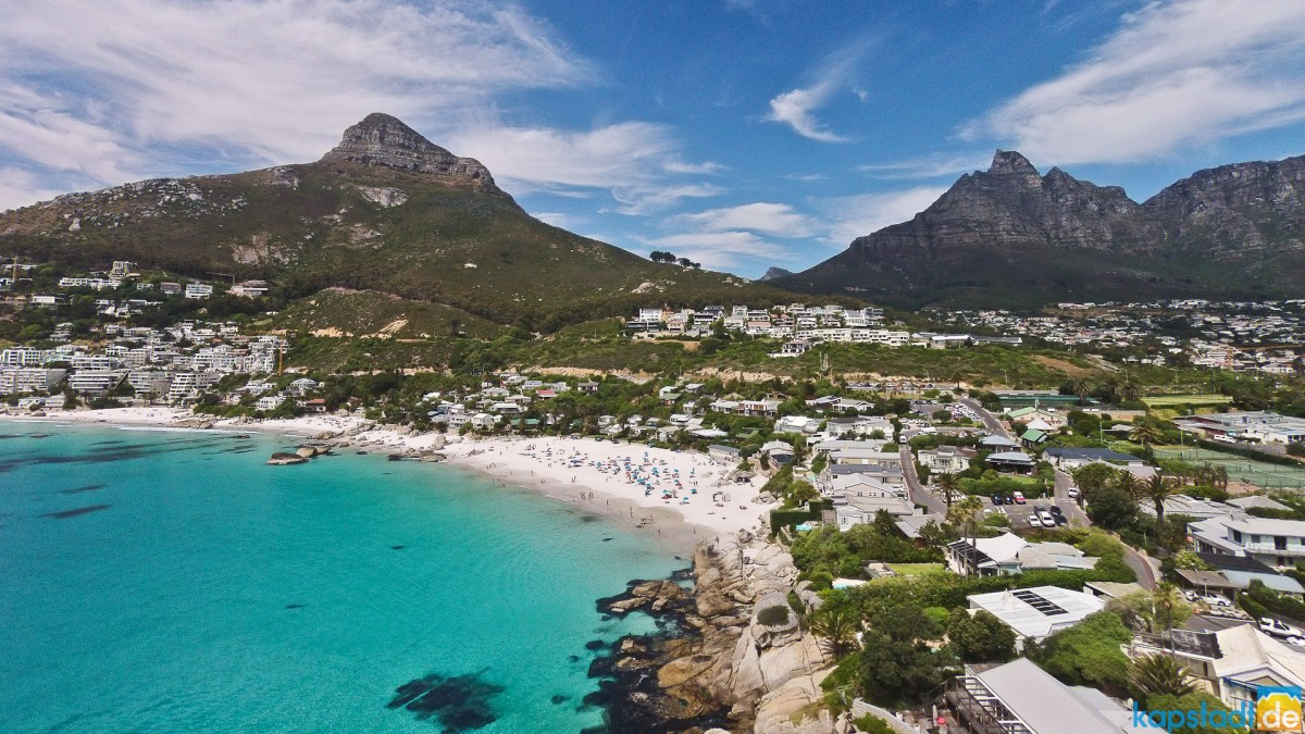 Aerial image from Clifton and its 3rd and 4th beach with Lions Head