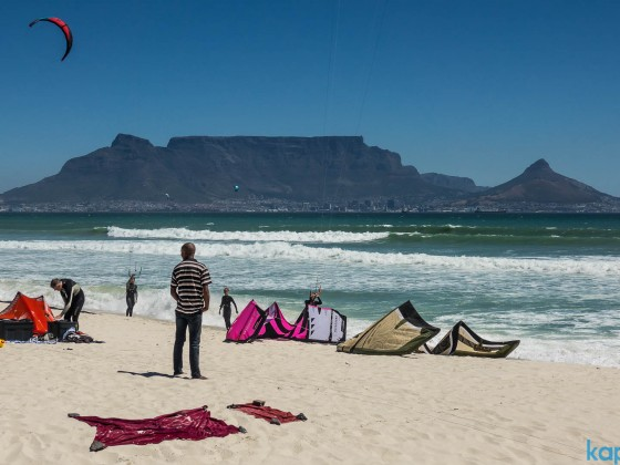 Kitesurfer at Bloubergstrand with Table Mountain