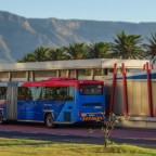 "MyCiti busstop ""Woodbridge Island"" with Table Mountain (with effect)"