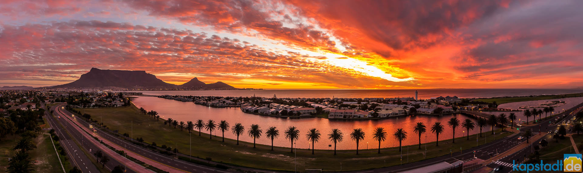 Table Mountain and Woodbridge Island in the evening during sunset seen from Milnerton