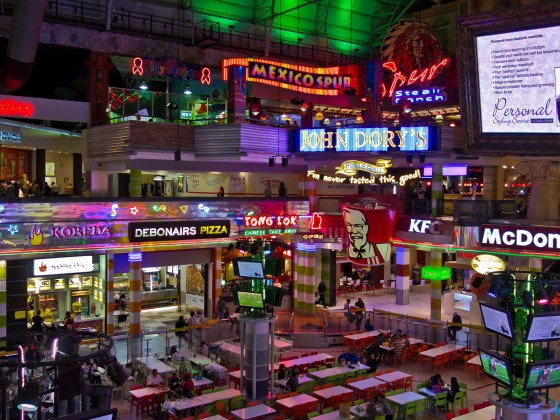 Canal Walk food court in the evening