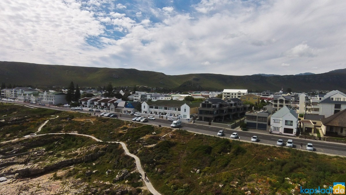 Aerial image from the beachfront of Hermanus in the Overberg