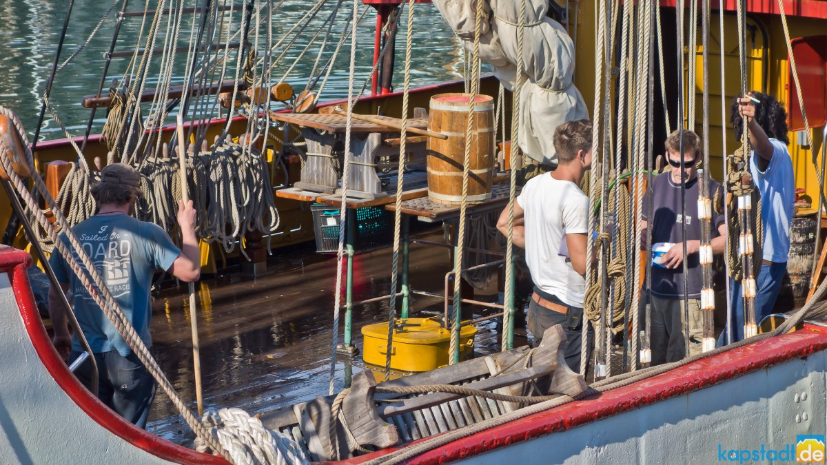"""The """"Europa"""" anchoring at the V&A Waterfront"""