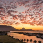 Milnerton sunset with Woodbridge Island and Table Mountain