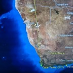 Flight map during flight to Cape Town