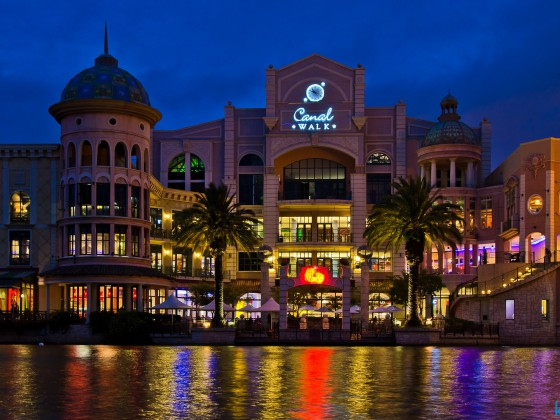 Canal Walk Shopping Mall in the evening