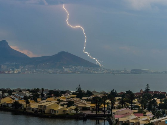 Lucky shot of a lightning hitting Sea Point taken from Milnerton