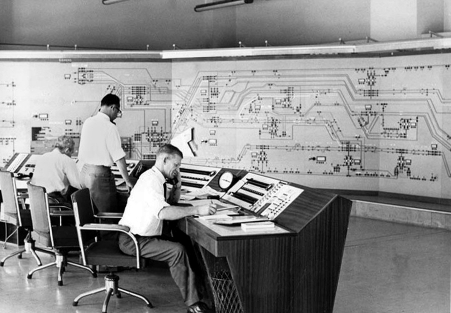 Railways control room, 1964