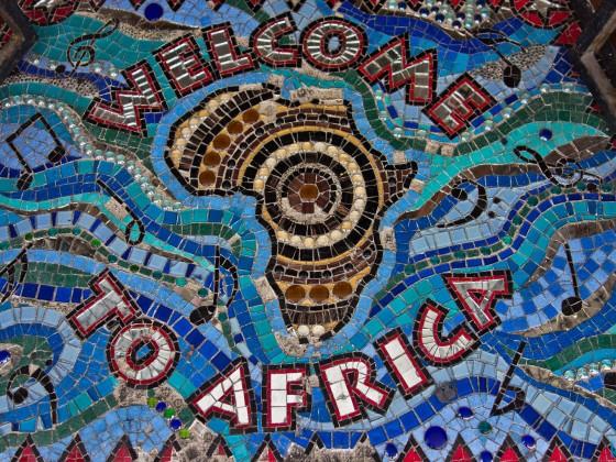 Mosaic floor art seen in Long Street