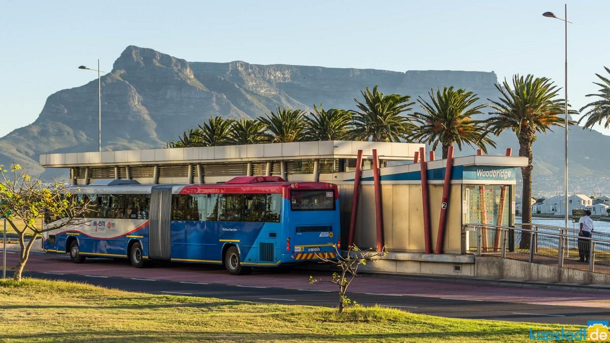 "MyCiti busstop ""Woodbridge Island"" with Table Mountain"