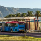 "MyCiti busstop ""Woodbridge Island"" with Table Mountain"