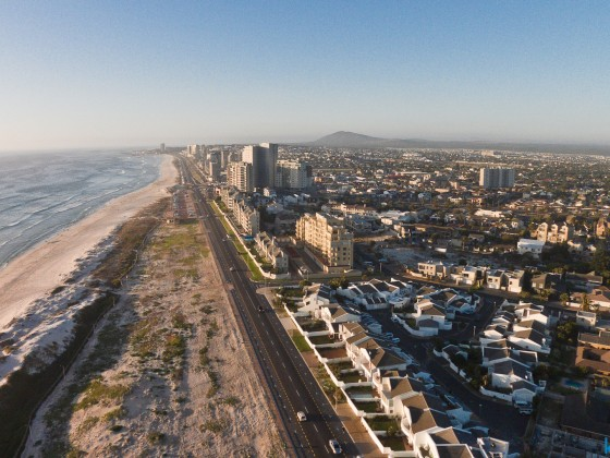 Aerial drone image of Beach Boulevard in Table View facing north