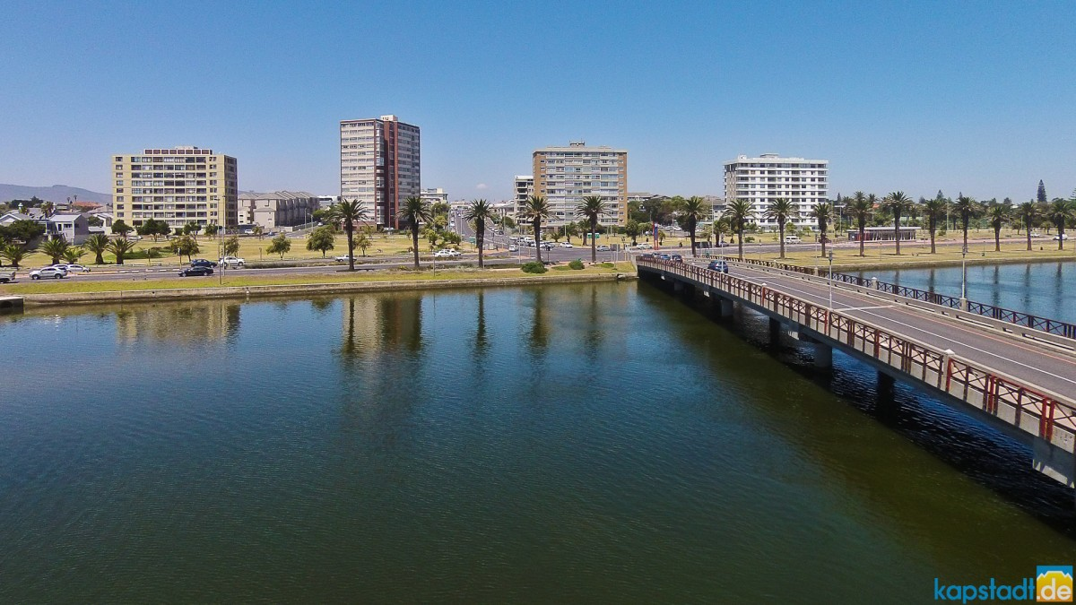 Aerial drone image with the new Woodbridge Island bridge with Walborough Mansions, Arnhem, Atlantica and Palo Alto