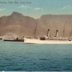 Postkarte Postschiff im Hafen gelaufen 1902 nach Augsburg