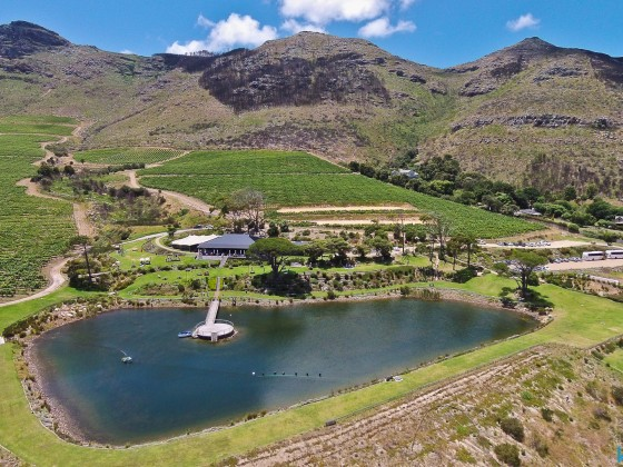 Aerial image from Cape Point Vineyards with their restaurant in Noordhoek