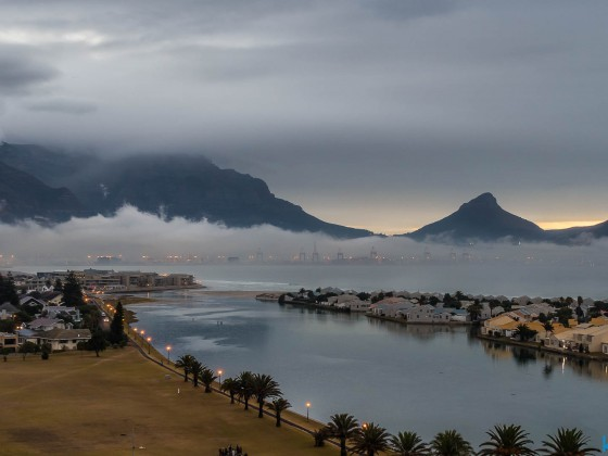 Table Mountain from Milnerton after some rain in the evening