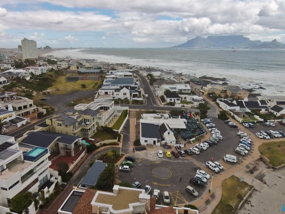 Aerial image from Big Bay with Ons Huisie Restaurant in the foreground