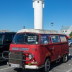 Old Volkswagen Bulli on Woodbridge Island with its Lighthouse