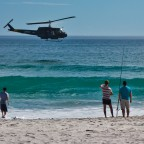 Huey helicopter flying low near Melkbosstrand