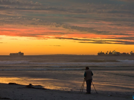 Milnerton Lagoon after sunset with photographer