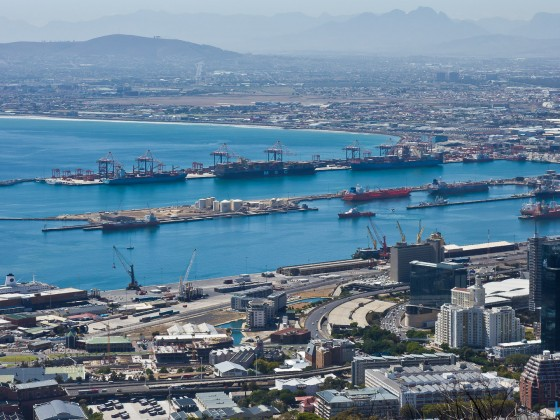 View from Signal Hill towards Cape Town harbour