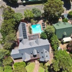 Aerial image from the Villa Honeywood guest house in Fish Hoek