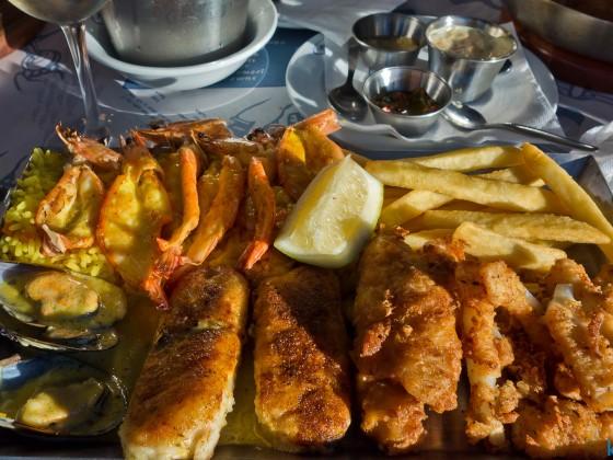 Seafood platter at Ocean Basket