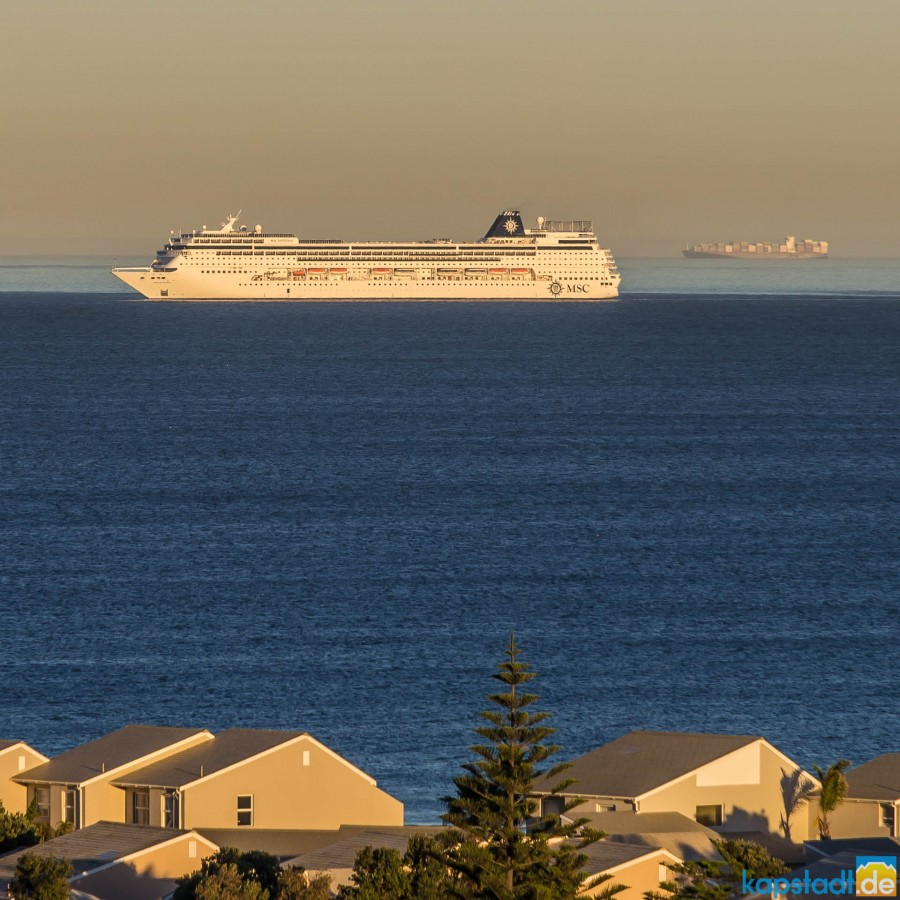 MSC Sinfonia after sunrise approaching Cape Town