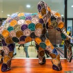 Elephant made of empty coffee pods