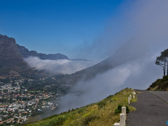Table Mountain with mist from the Atlantic Ocean