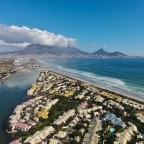 Aerial drone image of Woodbridge Island, the Milnerton Lagoon and Table Mountain