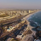 Aerial drone image of the Beach Boulevard along the Bloubergstrand beachfront
