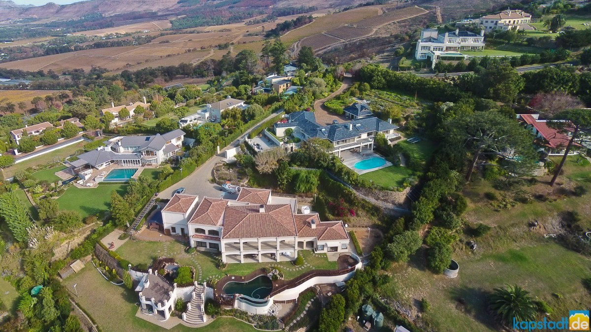 Aerial drone image from the Constantia Sun guest house in Constantia