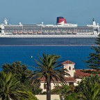 Queen Mary 2 seen from Milnerton with Woodbridge Island in the foreground