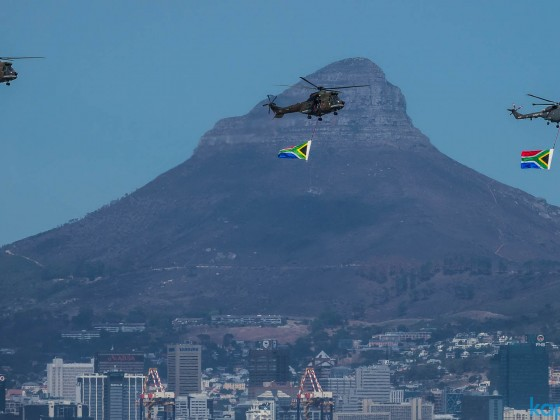 South Africa military demonstration with flags with Signal Hill