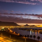 Table Mountain and Woodbridge Island after sunset seen from Milnerton