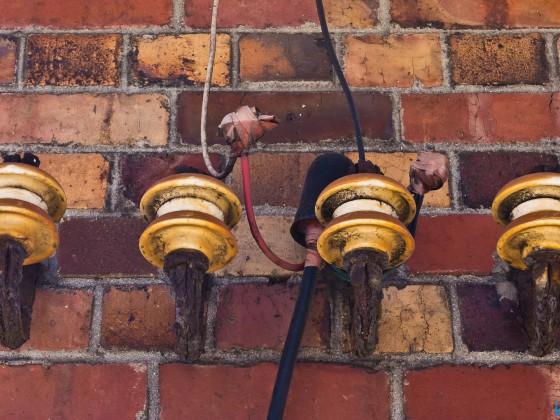 Rotten electric wires seen in Kalk Bay