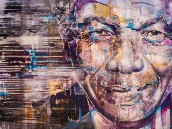 Nelson Mandela graffiti in the City Bowl of Cape Town