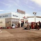 Mobilgas service station circa 1954