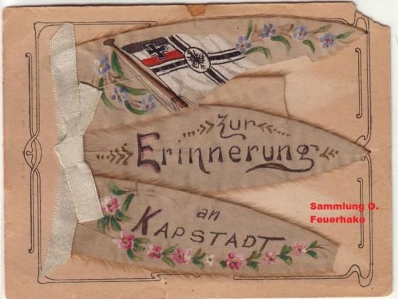 Postkarte Selbstgebastelte Karte eines Mitglieds der -Deutschen Schutztruppe- Seidenmalerei